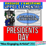 Presidents' Day: Reading Comprehension Passage and Questio