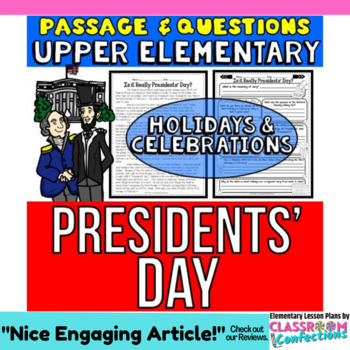 Presidents' Day Activity: Presidents' Day Passage and Ques