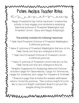 President's Day Photo Analysis Activity - CCSS aligned
