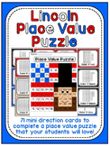 Presidents Day Math Center: Abraham Lincoln Place Value 100 Chart Puzzle