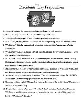 Presidents' Day Prepositions