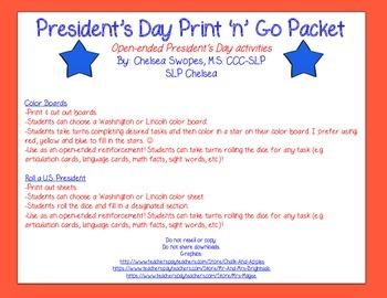 President's Day Print 'n' Go Packet