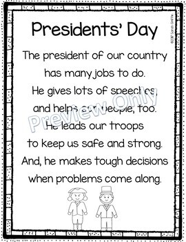 When Is President Day >> Presidents Day Printable Poem For Kids