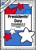 Presidents' Day Printables *Reading Comprehension *Writing