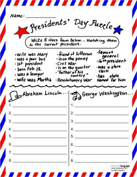 President's Day Puzzle Freebie