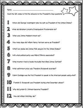 President's Day QR Code Scavenger Hunt