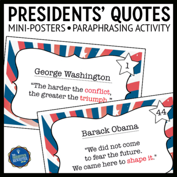 Presidents Quotations Task Cards