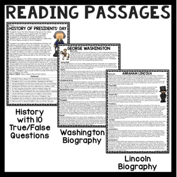 Presidents' Day Reading Comprehension, February, Washington, Lincoln, President