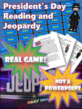 Presidents' Day Close Reading Comprehension and Jeopardy Game