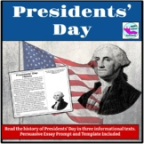 Presidents' Day Reading Comprehension and Persuasive Essay