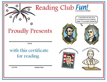 Presidents' Day Reading Log and Certificate Set