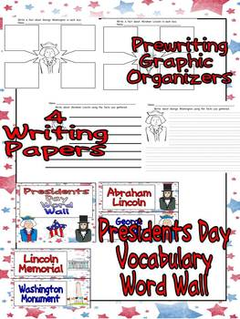 Presidents Day Reading and Writing Unit for Kindergarten or First Grade