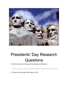 Presidents' Day Research Questions