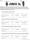 Presidents' Day Research Scavenger Hunt