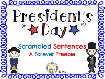 Presidents Day Scrambled Sentences