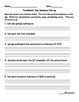 Presidents' Day Sentence Fix-up