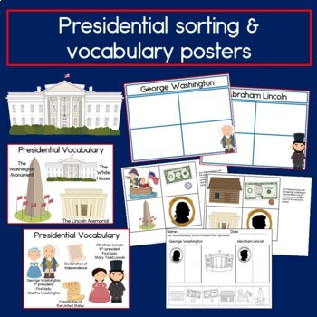 Presidents' Day Sentence Picture Match Reading Center