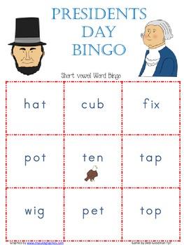 President's Day Short Vowel/CVC Word Bingo