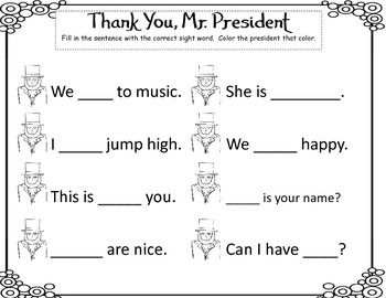 President's Day Sight Word Fun