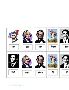 President's Day Sight Word Game