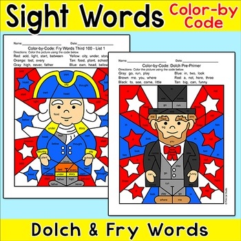 Presidents' Day Color by Sight Word: George Washington, Abraham Lincoln