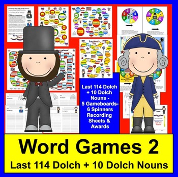 Presidents' Day Activities:  Word Games for Last 114 Dolch + Nouns