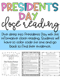 Presidents Day Social Studies Biography Close Reading