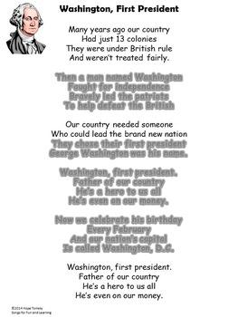 Presidents' Day Song/George Washington Song: mp3, Lyrics Sheet, Worksheets