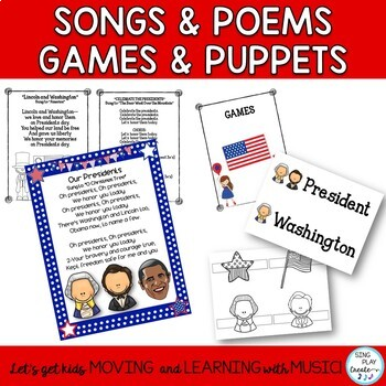 President's Day Songs,Readers Theater, Game and Literacy Activities