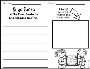 Presidents Day Spanish Writing Prompts, Graphic Organizers, and Activities