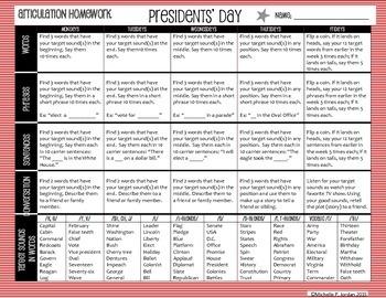 Presidents' Day Speech-Language Homework Calendar