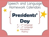 Presidents' Day Speech-Language Homework Calendar