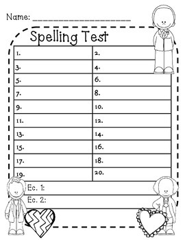 photograph about Printable Spelling Test named Spelling Look at Paper 20 Words and phrases Worksheets Training Components