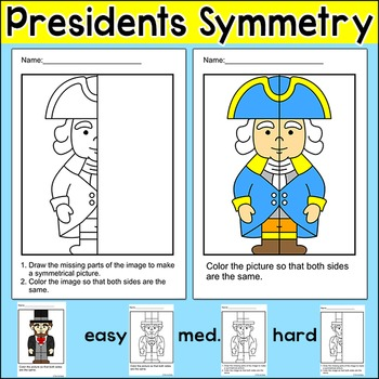 Presidents' Day Symmetry Math Activity: George Washington, Abraham Lincoln