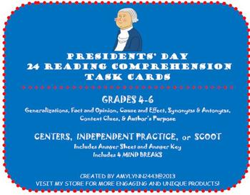Presidents' Day Task Cards- Fact & Opinion, Generalizations, Vocabulary & More