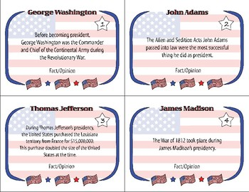 President's Day Task Cards - Fact vs Opinion