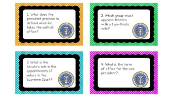 Presidents' Day Task Cards: The Executive Branch of the Constitution