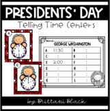 Presidents Day Telling Time Centers (hour and half hour)