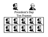 President's Day Ten Frames - Abe Lincoln and George Washington