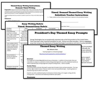 President's Day Themed Essay Writing, w Rubrics & Printables