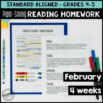 Paper-Saving Reading Homework for 4th & 5th - 4 weeks President Themed