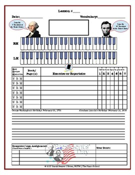 Presidents Day Themed Piano Lesson Assignment Sheet