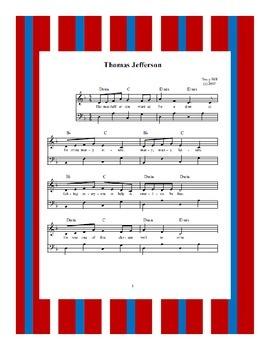 President's Day Thomas Jefferson Sheet Music