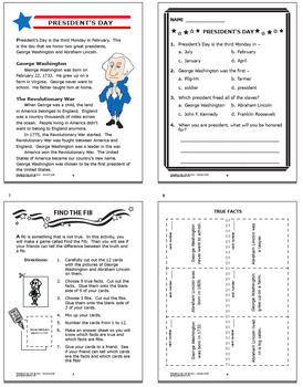 President's Day Math & Literacy National Holidays–President's Day Activities