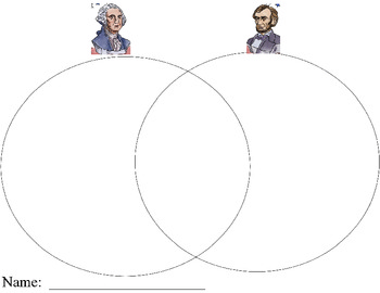 President's Day Venn Diagram Washington and Lincoln K-3