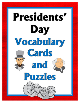 Presidents' Day Vocabulary Cards and Puzzles