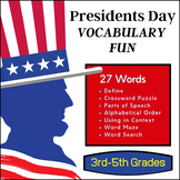 President's Day Vocabulary Unit (3rd-4th Grades)
