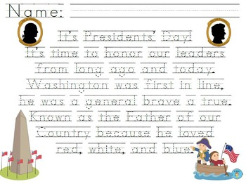 """Presidents' Day - Washington"" Handwriting Practice"