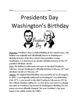 President's Day Washington's Birthday -  article questions vocab word search