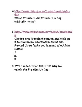 President's Day Web Quest